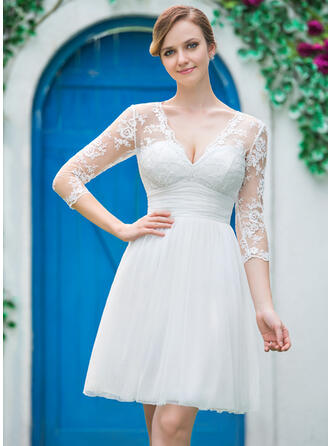 A-Line V-neck Knee-Length Tulle Lace Wedding Dress With Ruffle Bow(s)