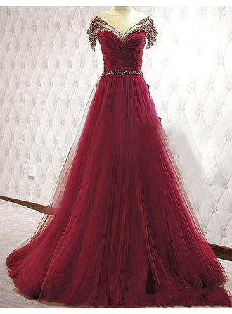 A-Line/Princess V-neck Sweep Train Evening Dress With Beading