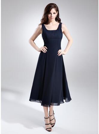 A-Line/Princess Square Neckline Tea-Length Chiffon Bridesmaid Dress With Ruffle