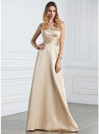 Satin Sleeveless Empire Bridesmaid Dresses Halter Ruffle Floor-Length