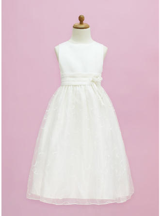 A-Line/Princess Scoop Neck Floor-length With Flower(s)/Bow(s) Organza/Satin Flower Girl Dress