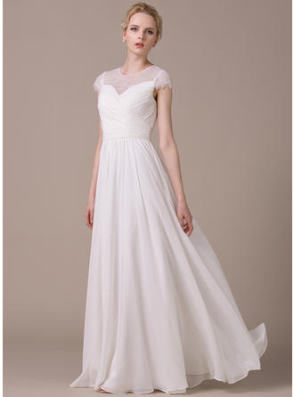 Magnificent Floor-Length A-Line/Princess Wedding Dresses Scoop Chiffon Short Sleeves