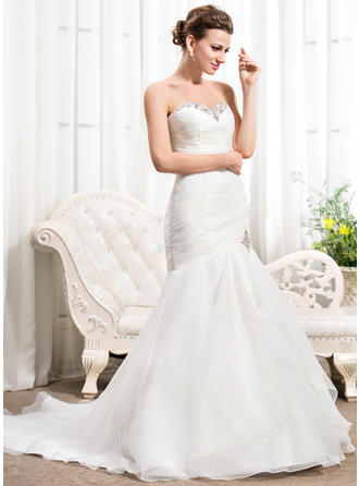 Simple Court Train Trumpet/Mermaid Wedding Dresses Sweetheart Organza Sleeveless