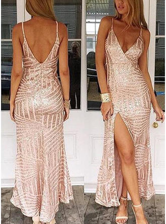 Sequined Sleeveless Sheath/Column Prom Dresses V-neck Split Front Floor-Length