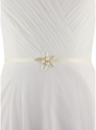 Women Satin With Imitation Pearls Sash Beautiful Sashes & Belts