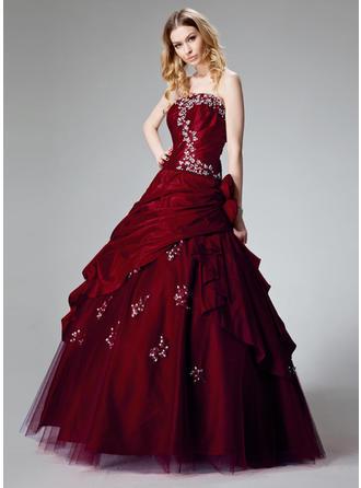 Ball-Gown Floor-Length Prom Dresses Strapless Taffeta Sleeveless