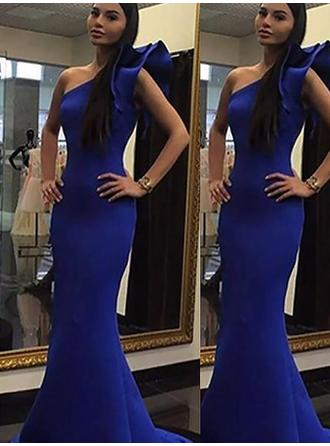 Satin Sleeveless Trumpet/Mermaid Prom Dresses One-Shoulder Flower(s) Sweep Train
