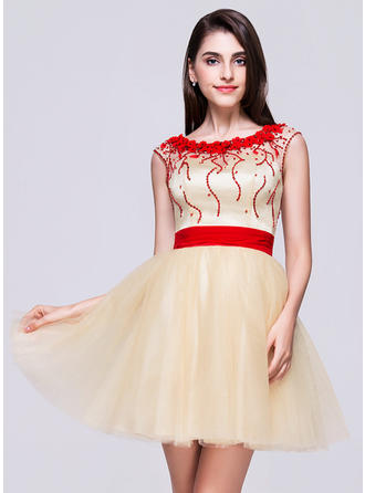 A-Line/Princess Scoop Neck Tulle Sleeveless Short/Mini Beading Flower(s) Sequins Homecoming Dresses