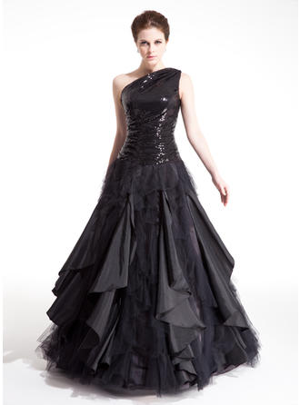 Gorgeous Taffeta Tulle Sequined Prom Dresses Ball-Gown Floor-Length One-Shoulder Sleeveless