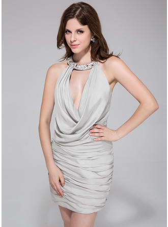 Sheath/Column Sexy Ruffle Beading Jersey Cocktail Dresses