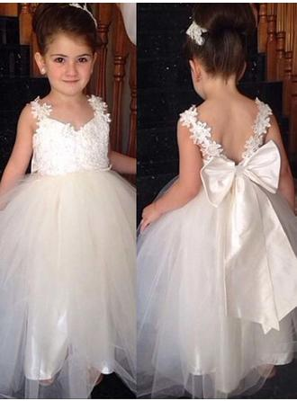 Ball Gown V-neck Ankle-length With Bow(s) Tulle/Lace Flower Girl Dresses