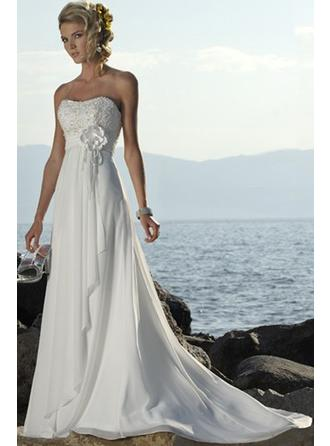 Empire Strapless Court Train Wedding Dresses With Beading Flower(s)