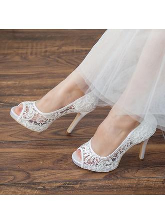 Frauen Peep-Toe Plateauschuh Sandalen Stöckel Absatz Lace Brautschuhe