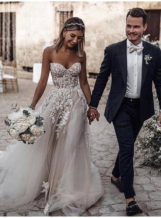 Applikationer Spetsar Ärmlös A-linjeformat - Tyll Bröllopsklänningar