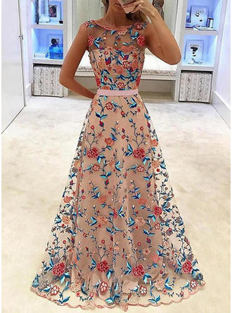 A-Line/Princess Scoop Neck Sweep Train Prom Dress