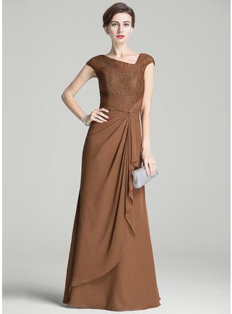 A-Line/Princess Chiffon Lace Sleeveless Floor-Length Ruffle Cascading Ruffles Mother of the Bride Dresses