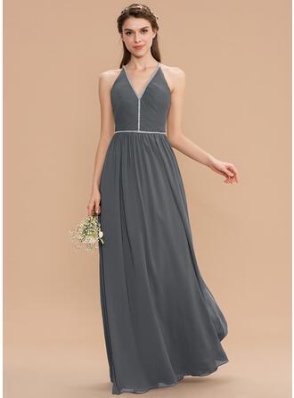 Corte A Decote V Longos Tecido de seda Vestido de madrinha com Pregueado Beading