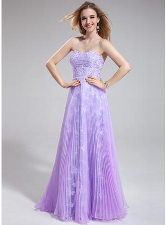 Organza Lace Elegant A-Line/Princess Floor-Length Prom Dresses