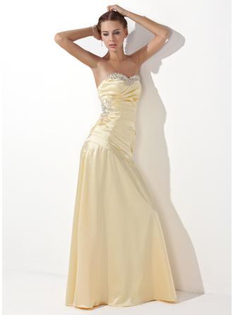 Aライン/プリンセスライン2 袖なし ラッフル ビーズ スパンコール Charmeuse プロム用ドレス (018004827)