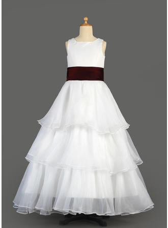 Beautiful Floor-length A-Line/Princess Flower Girl Dresses Scoop Neck Organza/Satin Sleeveless (010014639)