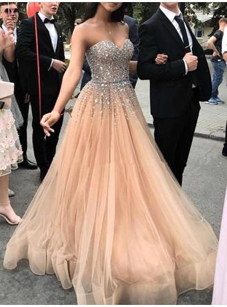 A-Line/Princess Tulle Prom Dresses Elegant Sweep Train Sweetheart Sleeveless