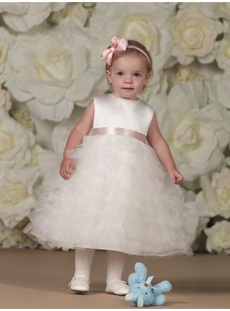A-لاين أميرة عنق مدور طول الكاحل مع وشاحات صقيل/قماش رقيق شفاف فستان فتاة الزهور