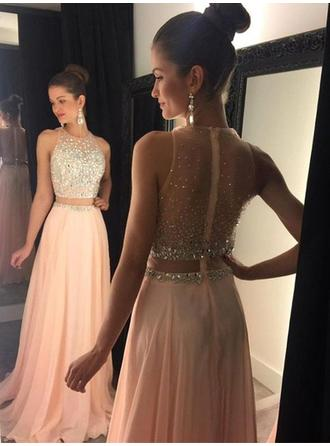 A-Line/Princess Scoop Neck Sweep Train Chiffon Prom Dress With Beading