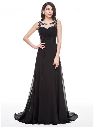 Chiffon Sleeveless A-Line/Princess Prom Dresses Scoop Neck Ruffle Beading Appliques Lace Sequins Court Train