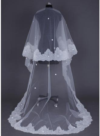 Voiles de mariée cathédrale Tulle 1 couche Voile goutte avec Bord en dentelle Voiles de mariage