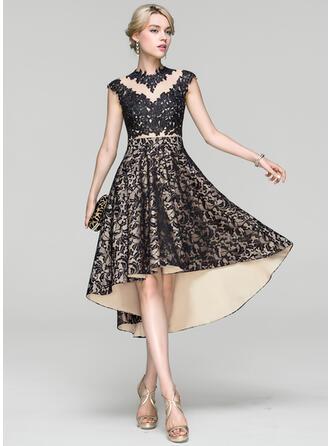 A-Line Scoop Neck Asymmetrical Lace Cocktail Dress