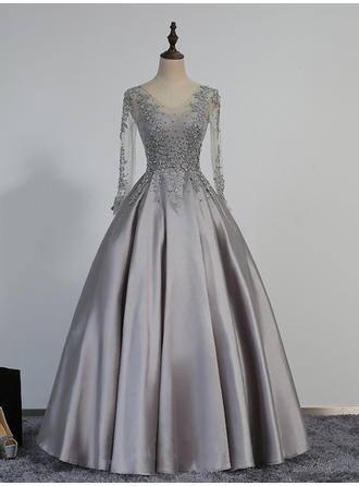 Ball-Gown V-neck Satin Long Sleeves Floor-Length Beading Appliques Lace Evening Dresses
