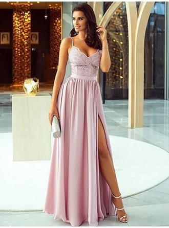 A-Line/Princess Chiffon Prom Dresses 2019 New Floor-Length V-neck Sleeveless