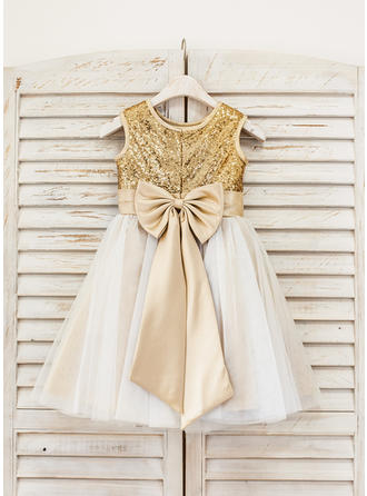 A-Line/Princess Knee-length With Bow(s) Tulle/Sequined Sleeveless Flower Girl Dresses