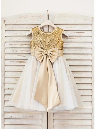 Forme Princesse Longueur genou Robes à Fleurs pour Filles - Tulle/Pailleté Sans manches avec À ruban(s)