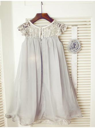 Einfach Wadenlang A-Linie/Princess-Linie Blumenmädchenkleider U-Ausschnitt Chiffon/Tüll/Lace Ärmellos (010211829)
