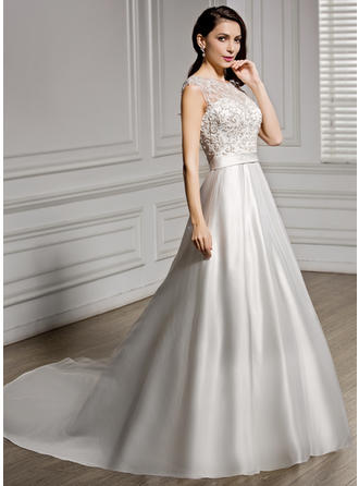 Satin Lace A-Line/Princess Luxurious Beading Sequins Wedding Dresses