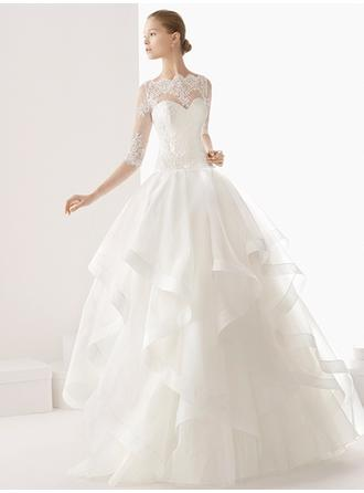 A-Line/Princess Scoop Floor-Length Wedding Dresses With Lace Cascading Ruffles
