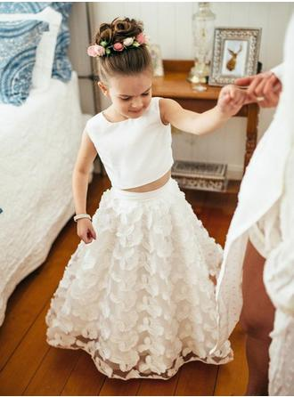 A-Line/Princess Scoop Neck Floor-length Satin/Lace Sleeveless Flower Girl Dress