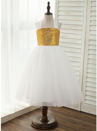 A-Line/Princess Ankle-length Flower Girl Dress - Tulle/Sequined Sleeveless Halter