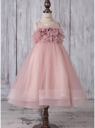 Vestidos princesa/ Formato A Decote redondo Comprimento médio Tule Sem magas Vestidos de daminha