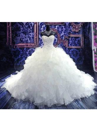 Ball-Gown Sweetheart Floor-Length Chapel Train Wedding Dress With Beading Sequins