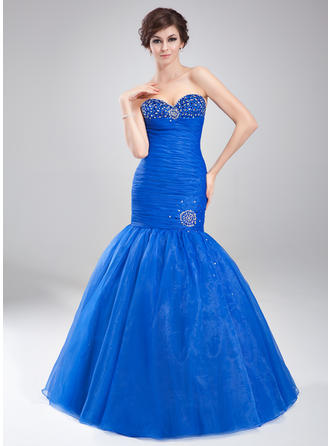 Organza Sleeveless Trumpet/Mermaid Prom Dresses Sweetheart Ruffle Beading Floor-Length (018020791)