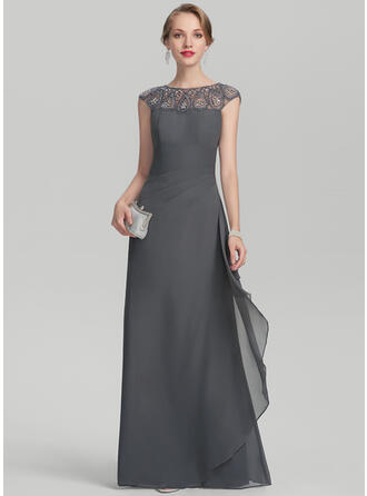 A-Line/Princess Scoop Neck Floor-Length Chiffon Evening Dress With Beading Sequins Cascading Ruffles