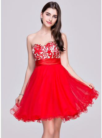 Flattering Tulle Lace Homecoming Dresses A-Line/Princess Short/Mini Sweetheart Sleeveless