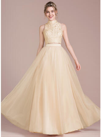 A-Line/Princess Scoop Neck High Neck Floor-Length Tulle Prom Dresses