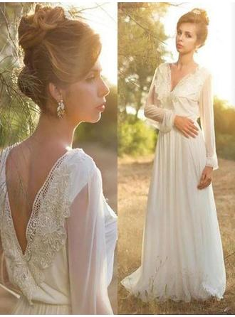 Sweetheart Sweep Train A-Line/Princess Wedding Dresses V-neck Chiffon Long Sleeves