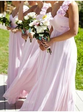 A-Line/Princess Chiffon Bridesmaid Dresses Ruffle Flower(s) One-Shoulder Sleeveless Floor-Length