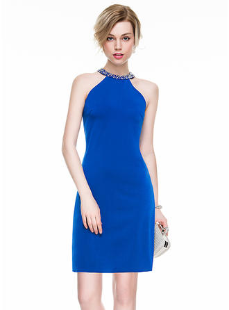 Sheath/Column Scoop Neck Jersey Sleeveless Short/Mini Beading Sequins Cocktail Dresses