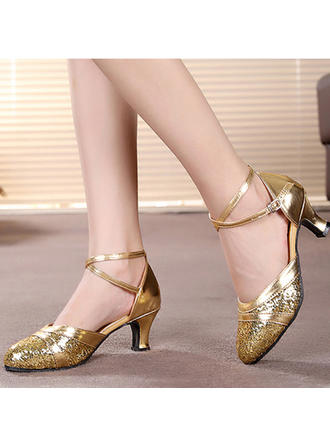 Women's Ballroom Heels Sandals Leatherette Sparkling Glitter With Hollow-out Dance Shoes