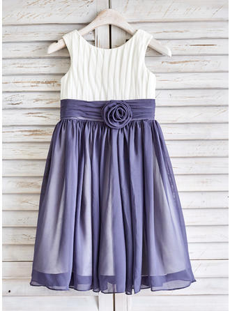 Gorgeous Scoop Neck A-Line/Princess Flower Girl Dresses Tea-length Chiffon Sleeveless